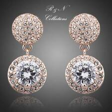 18K Rose Gold Plated Two Piece Genuine Made W/Swarovski Crystal Earrings E432-26