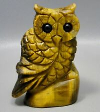 Owl Tigereye 2.75 inch Semi Precious Gemstone Animal Carving Tiger's Eye #1
