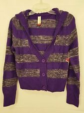 No Boundaries Juniors Cardigan Cable Knit Purple Striped Hood Size Large NWT O03