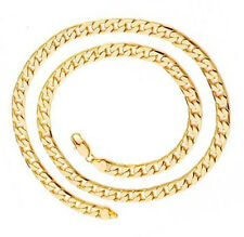 Mens Jewelry Hip Hop Punk Solid Gold Plated Heavy Long Cuban Link Chain Necklace
