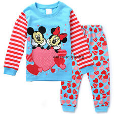 2pcs Cotton Baby Girl Kids T-shirt Tops+Pants Pajamas Clothes Outfits Sets 3-4Y