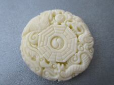 Polymer Carved White Yin Yang Pendant 1 pc