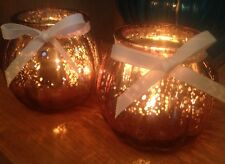 SET OF 2 MERCURY RIBBED GLASS COPPER CANDLE TEA LIGHT HOLDERS  Gift. Wedding.