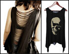 Skull Rock Punk Top Gothic Tank Asymmetrical Hem Emo Backless Ripped Plus Size