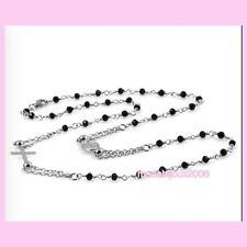 Corona collana girocollo uomo donna  Rosario con Crocifisso Madonnina acciaio