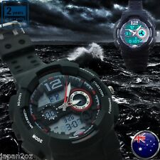 MENS BLACK SPORTS WATCH 50m Water Resistant LED Backlight Digital & Analogue #2