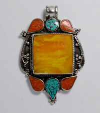 Sterling Silver Pendant Turquoise Ethnic Handmade Tibetan Amber Coral Tribal 1P