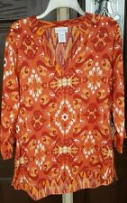 Soft Surroundings Orange Tunic Blouse Top Size Large