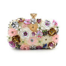 Designer Wedding Bridal Flower Crystal Evening Clutch Bag Handbag Purse Handmade