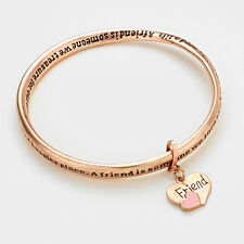 Friend Bracelet Heart Charm Twisted Bangle BURNT ROSE Friendship Gift Message