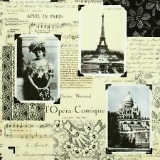 Timeless Treasures Chic Fabric April in Paris News Collage NOIR-C7305-Ivory BTY