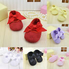 Cute Baby Infant Kids Girls Cotton Ribbon Bowknot Soft Bottom Flower Prewalker