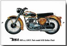 BSA 650CC O.H.V. TWIN MODEL A10 GOLDEN FLASH MOTORCYCLE METAL SIGN.CLASSIC BIKES