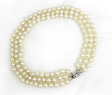 Pearl Necklace Jackie Kennedy Style Pearls Triple Strand Almost Choker Necklace
