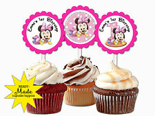 Baby Minnie Mouse cupcake toppers personalized 1st birthday party favors