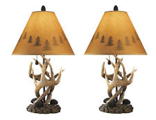 Antler Table Lamps Pair of 2 W Shades Deer Antlers Lamp Lodge Rustic Decor Cabin