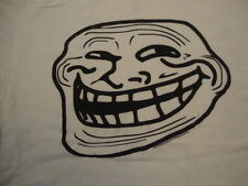 You Mad Troll Face Funny White Cotton T Shirt Size L