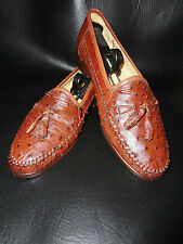 Nice - Zelli - Genuine Ostrich -  Brown Loafers Shoes - Italy - Size 7.5
