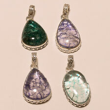 WHOLESALE LOT 4 PICS. 925 STERLING SILVER OVERLAY MULTI STONE PENDANT JEWELLERY