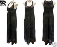 Rusty Ladies Black Maxi Dress Size 12 Long Net Gypsy Surf Beach Wear New RRP$90
