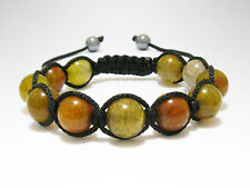 Natural Dragons Scale Agate Gemstone Beaded Shamballa Wrap Jewelry Bracelet
