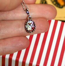 Vintage crown set harlequin red opal glass Rhodium plated necklace