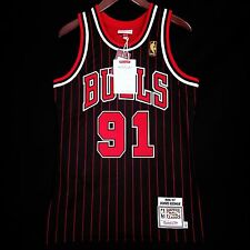 100% Authentic Dennis Rodman Mitchell Ness 96 97 Pinstripe Bulls Jersey 52 2XL