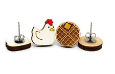 Unpossible Cuts Chicken and Waffles Wood Wooden Earrings Jewelry