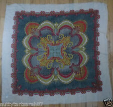 Vintage 1980's Large Square Scarf Paisley & Dogtooth Design Cream / Multi BNWOT