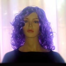 Fantasy Purple Curls WIG Halloween Witch Women's Fancy Dress Costume accessory