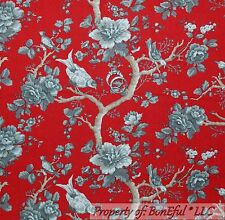BonEful Fabric FQ Cotton Quilt Red Gray Brown Rose Flower BIRD Toile Shabby Chic