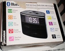 New Sylvania SCR1986 Bluetooth Clock Radio USB Charging Port Dual Alarm AUX