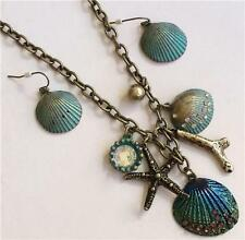 Antique Gold Brass Patina Sea Life Necklace Earrings Set Shells Crystal Starfish