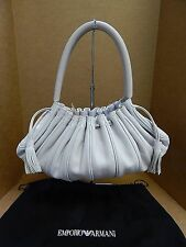 Emporio Armani Italy Light Beige Leather Drawstring Shoulder Bag
