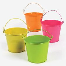 NEON ASSORTED COLORED TIN PAILS BUCKETS NEW (LOT OF 12) HUGE LOT