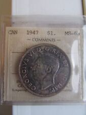 Canada 1947 Silver Dollar Maple Leaf ICCS Graded MS63 - Limited Mintage of 21,13