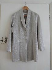 Shiny Light Gold Pattern Vintage 80s Long C&A Jacket in Size 10