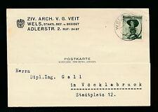 Geschäfts-Postkarte 1952 aus Wels, Ziv.Architekt Veit    (A10)