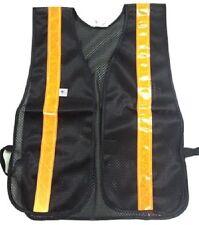 Soft Mesh Black Safety Vests with Orange Stripes