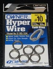 OWNER 5196-104 Stainless Steel Split Rings Size 10 220lb Test Hyper Wire 6 Pack