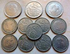 Lot de 12 monnaies Espagne Franco 25 et 50 pesetas date différentes