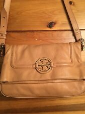 Tory Burch Amanda fold over cross body satchel in tan leather