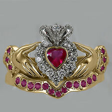 Heart Shape Ruby & Natural Diamond 10k Yellow Gold Bridal Set Claddagh Ring NEW