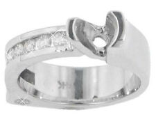 0.90 CT Round Cut Diamond Semi Mount Engagement Ring In 18 Kt White Gold