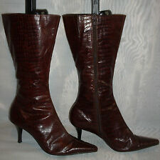 WOMENS Barratts Dark Brown Zip Synthetic Mid Calf Boots Size:6/39(WB401)