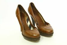 BURBERRY - ROUND TOE PLATFORM PUMPS HEELS BROWN LEATHER WOMEN'S 38