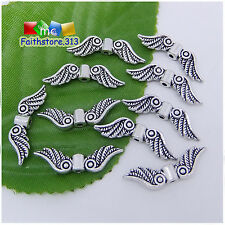 30 Pcs Tibetan Silver Fancy Angel Wing Charms Spacer Beads 23mm x 7mm P087