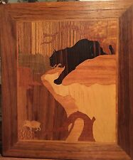 Beautiful!!  Vintage Marquetry Inlaid Wood Black Panther Picture ~ Wall Art