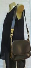 Vintage Gucci RARE Espresso Brown Smooth Leather Flap Bag Chain Link A+++