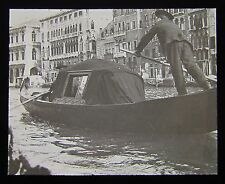 Glass Magic Lantern Slide LARGE GONDOLA DATED 1904 PHOTO ITALY VENICE VENEZIA